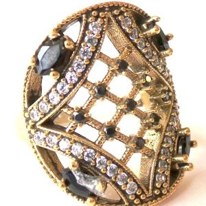 Real Sapphire & Topaz Sterling Bronzed Ring 8